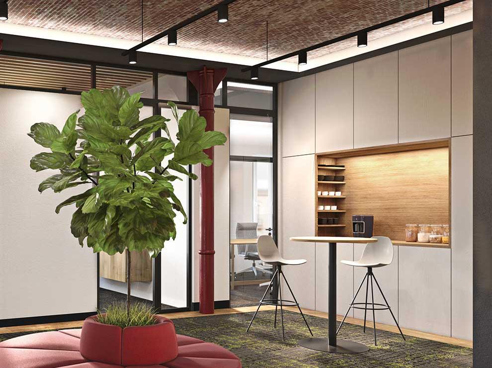 Interiorismo del espacio central de oficinas.