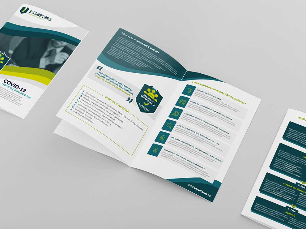 Diseño de folleto para SSA Consultores.