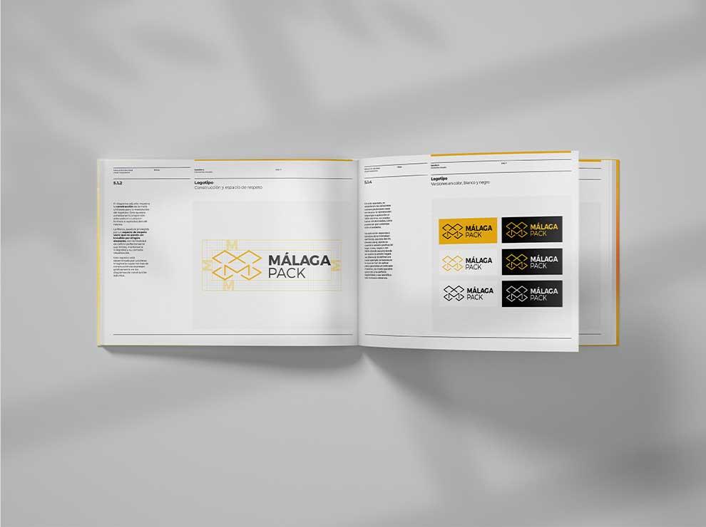 Interior del manual de identidad corporativa de Málaga Pack