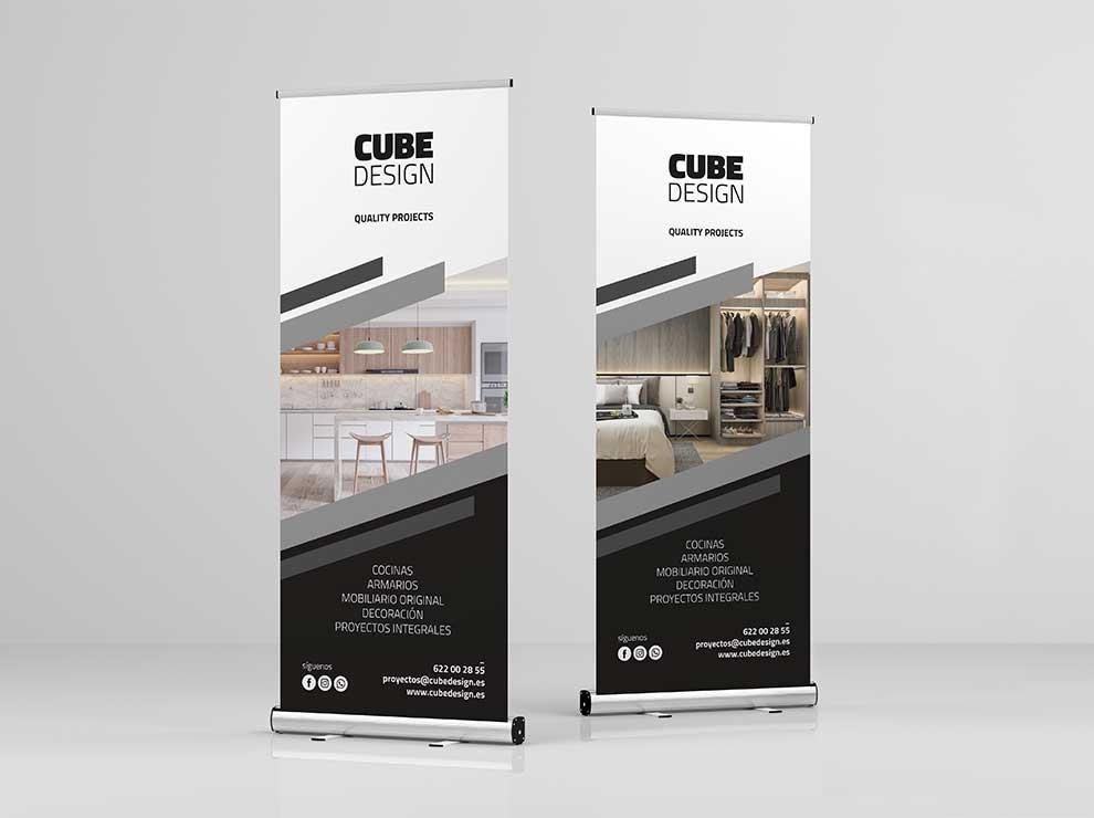 Branding de Cube Design aplicado a dos rollups.