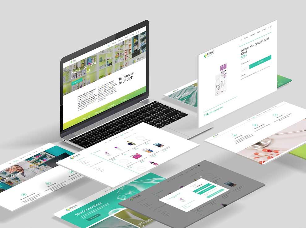 Páginas del diseño web de una farmacia