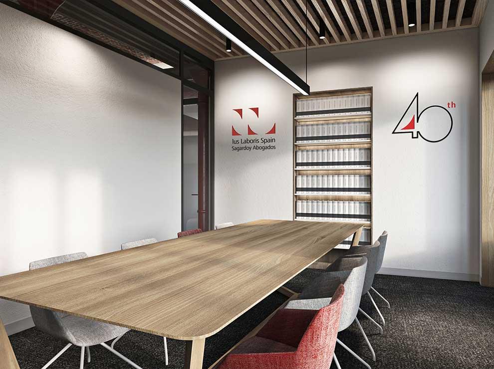 Diseño interior de sala de reuniones.