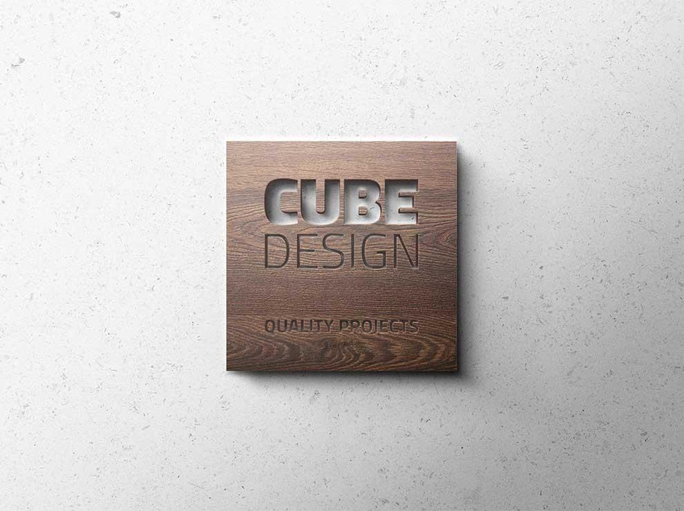 Logotipo de madera para Cube Design
