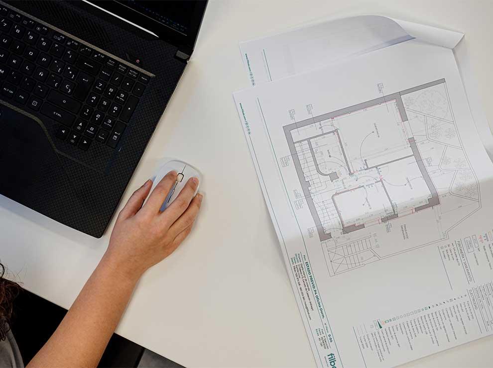 Plano del estado previo de una vivienda a reformar.