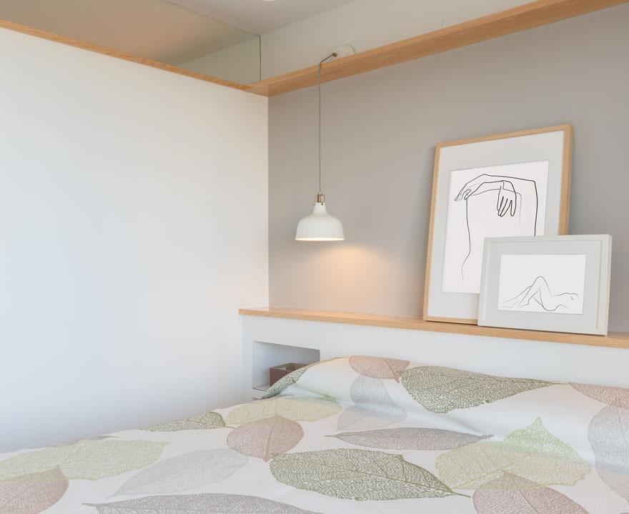 Diseño de dormitorio con detalles de madera