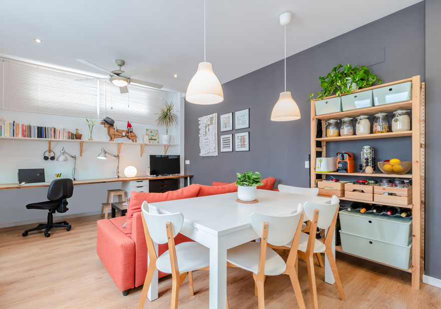 Interior design of living room and dining room of small home
