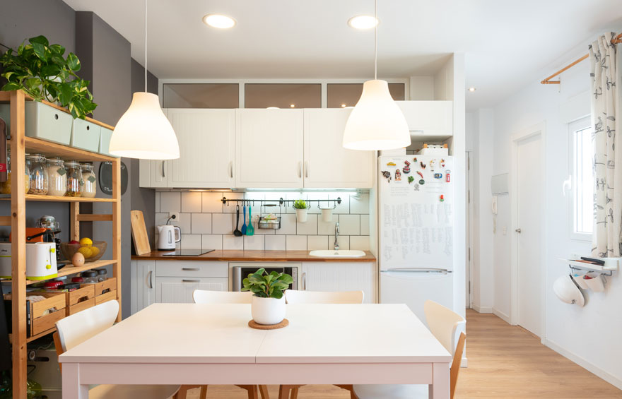 Open kitchen design in small home