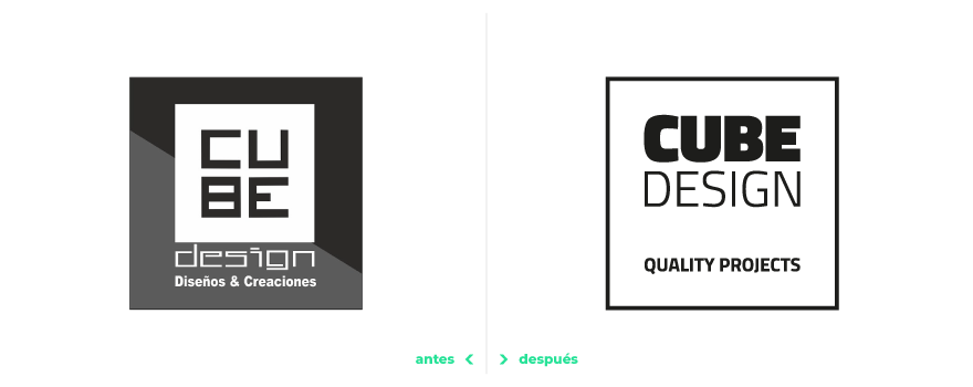 Cube Design - Logotype design before and after