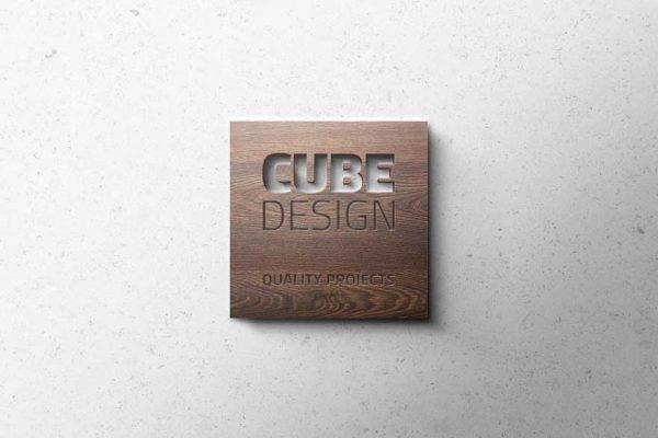 Logotipo de Cube Design elaborado en madera.