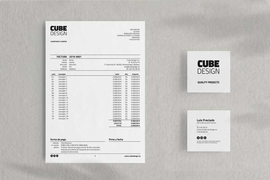 Stationery design and new corporate identity for Cube Design