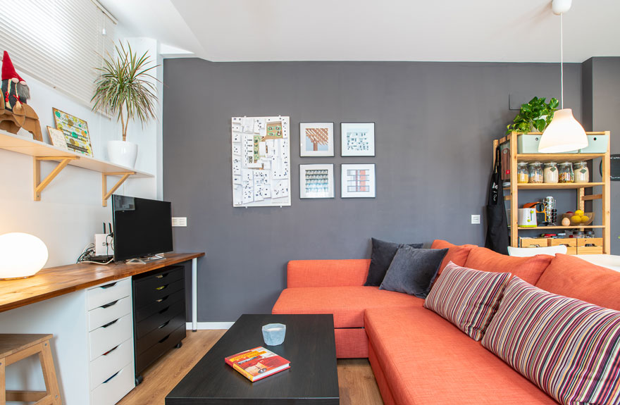 Interior design of living room and home office of small home