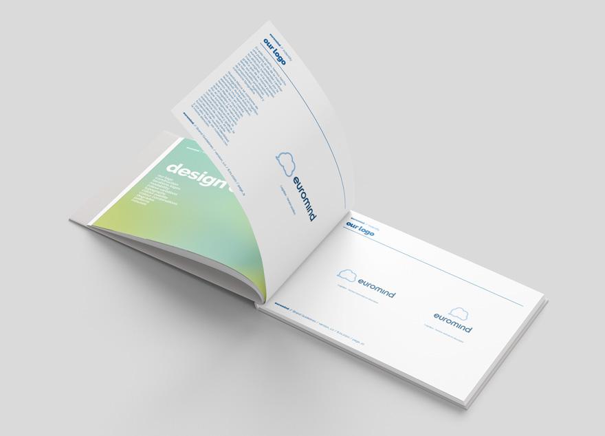 Diseño gráfico del manual de identidad corporativo de Euromind