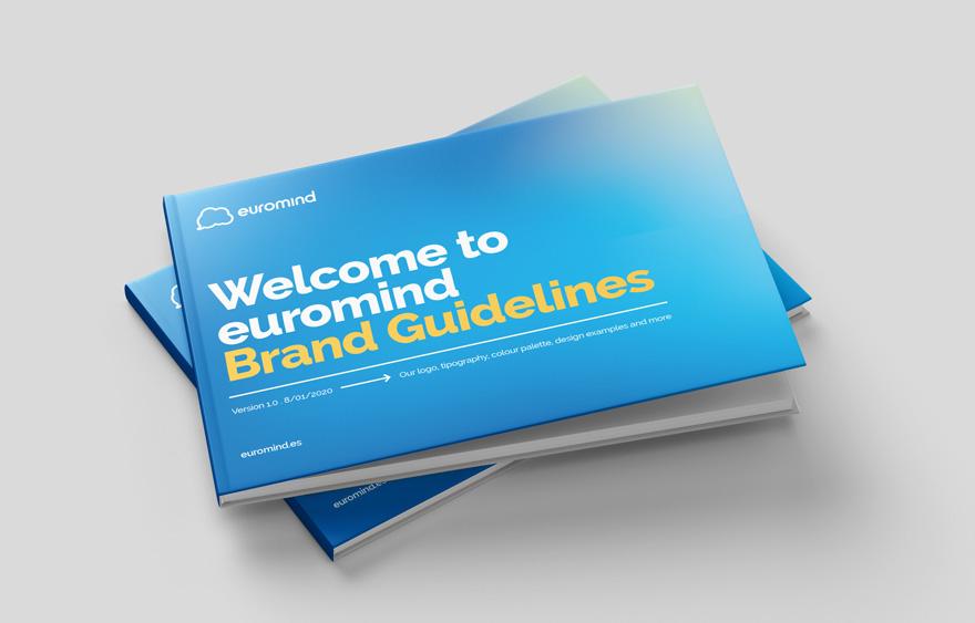 Diseño de portada de manual de identidad corporativo de Euromind