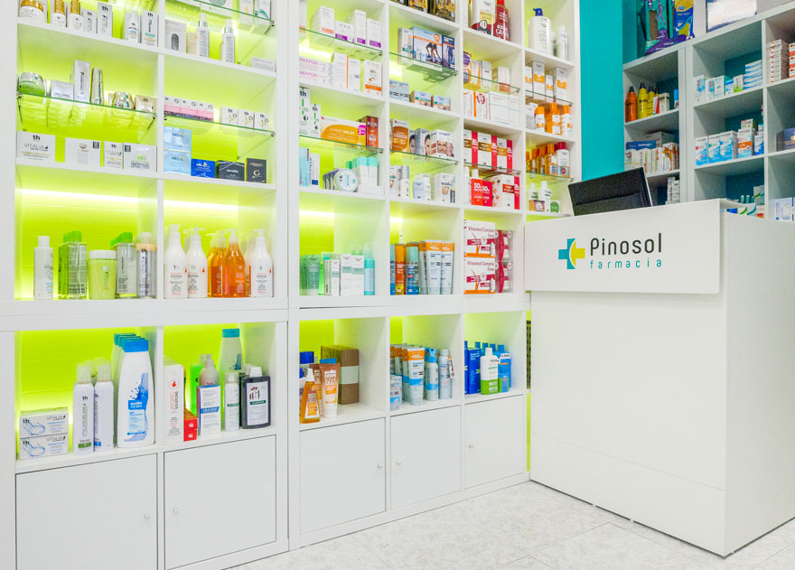 Furniture and lighting design for Pinosol pharmacy