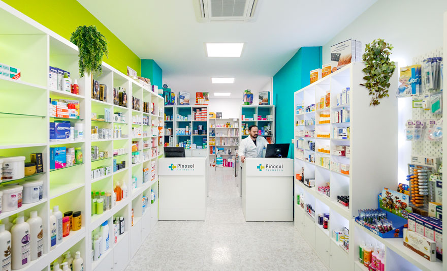 Interior design of Pinosol pharmacy in Malaga