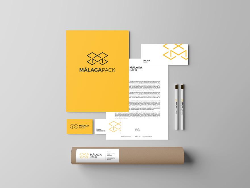 Diseño de papelería corporativa de Málaga Pack