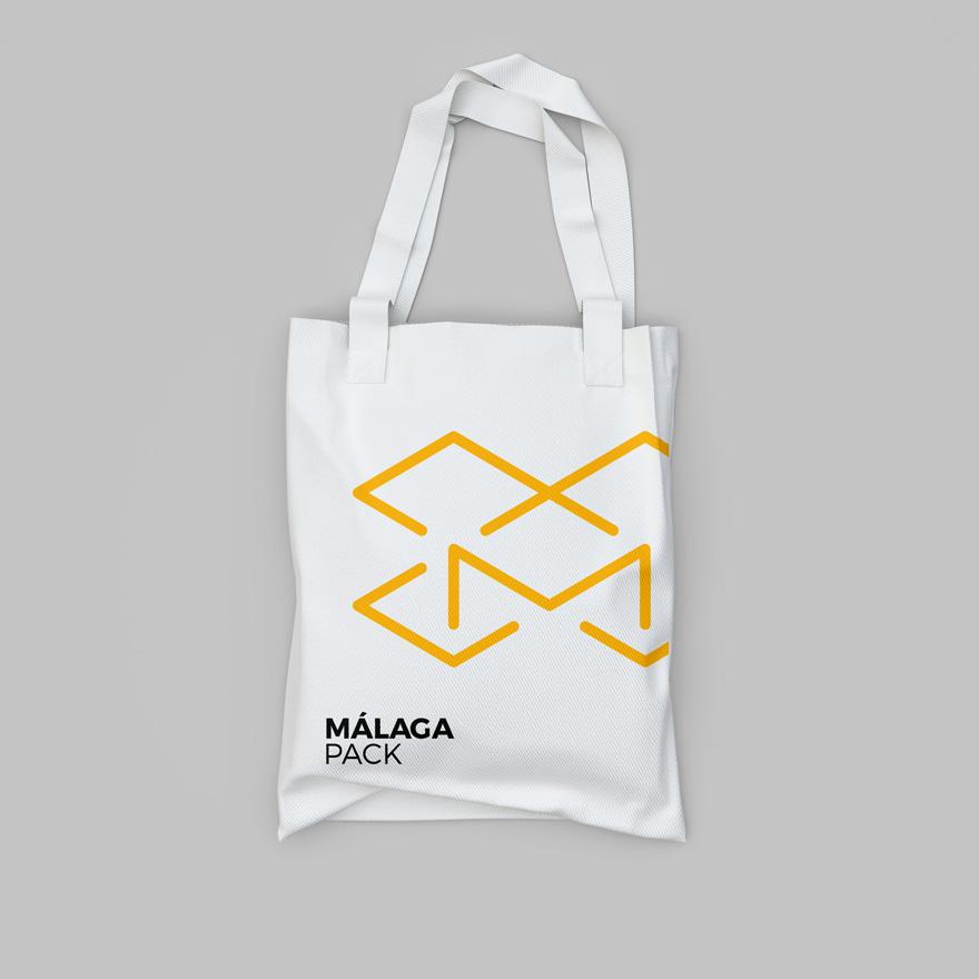 Diseño gráfico de bolsa para Málaga Pack