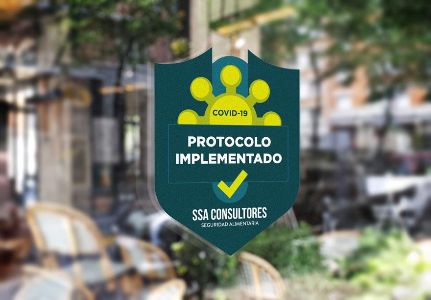 Diseño gráfico de pegatina covid-free para consultoria