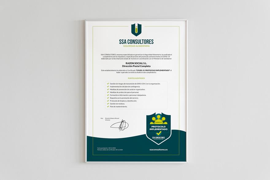 Diseño de certificado covid para SSA Consultores