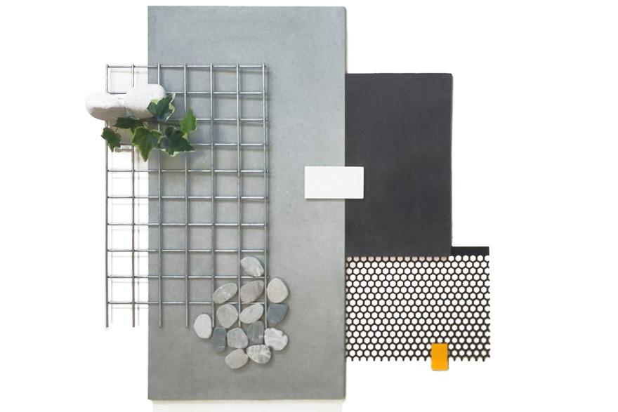 Interior design moodboard in gray and stone tones
