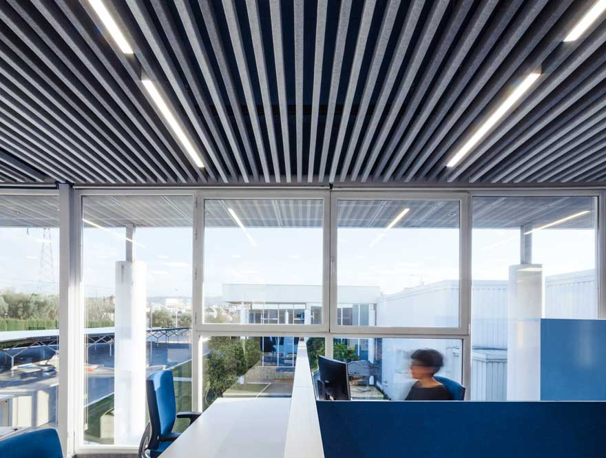 Acoustic ceiling and lighting design