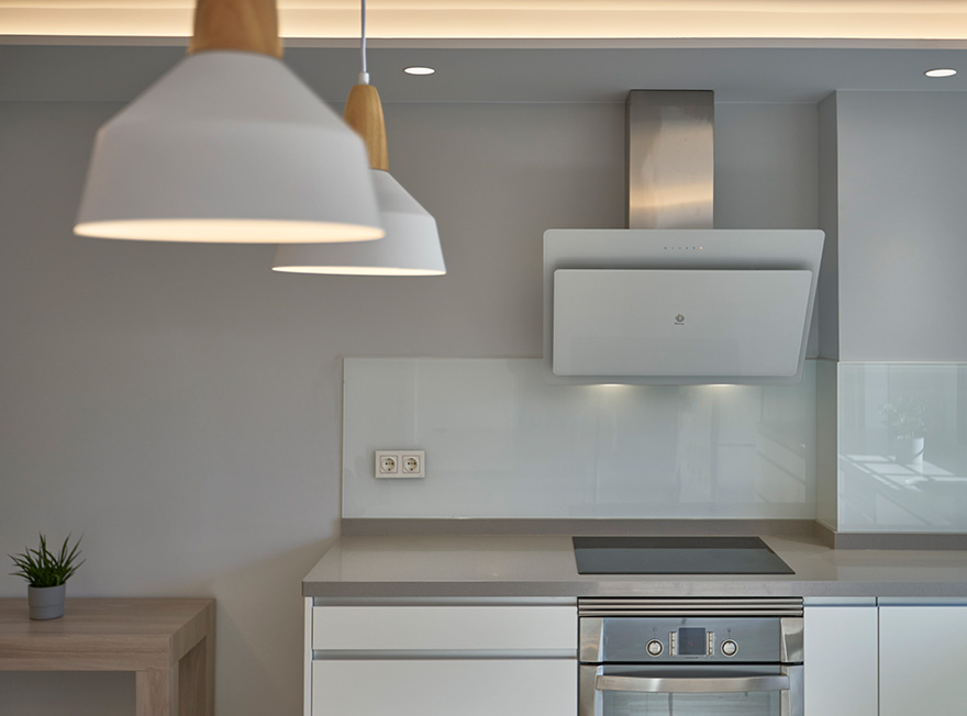 Detail of lighting and materials in kitchen