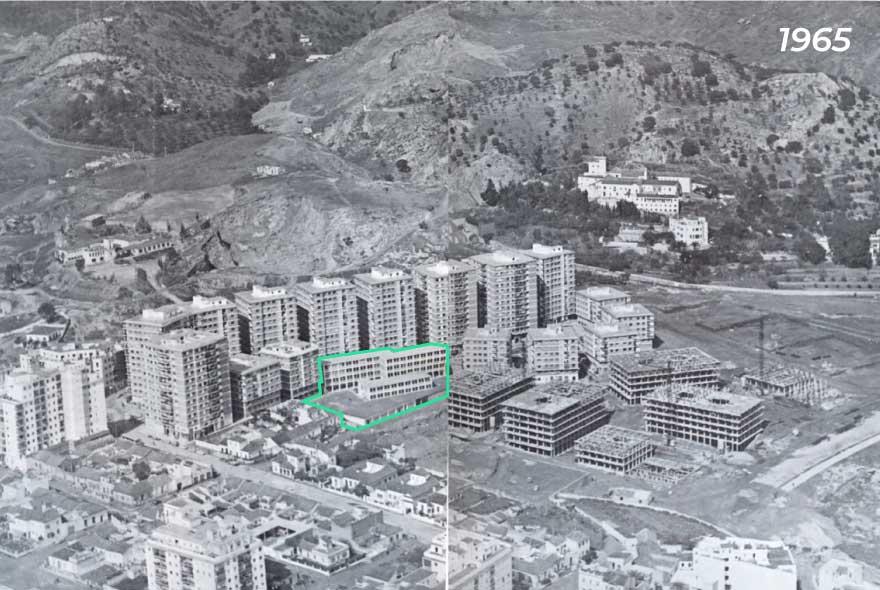 vista aérea del barrio Miraflores de los Ángeles en el año 1965