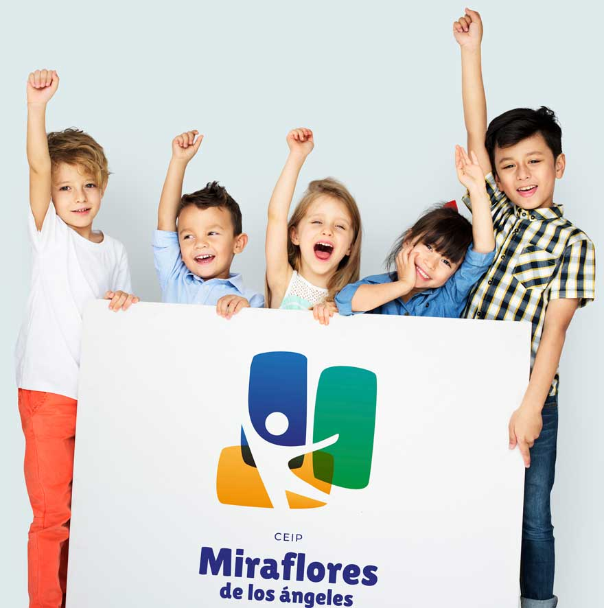 Diseño de logo y cartel corporativo del colegio Miraflores