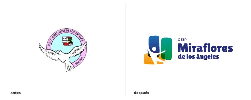 Antes y después del diseño de logo de Miraflores