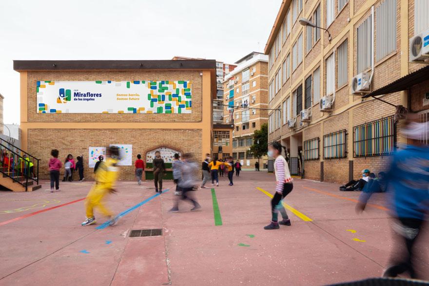 diseño de lona del patio del colegio Miraflores