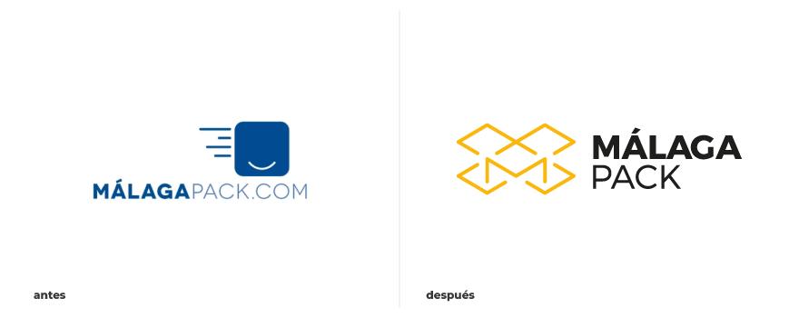 Antes y después de imagen corporativa Málaga Pack
