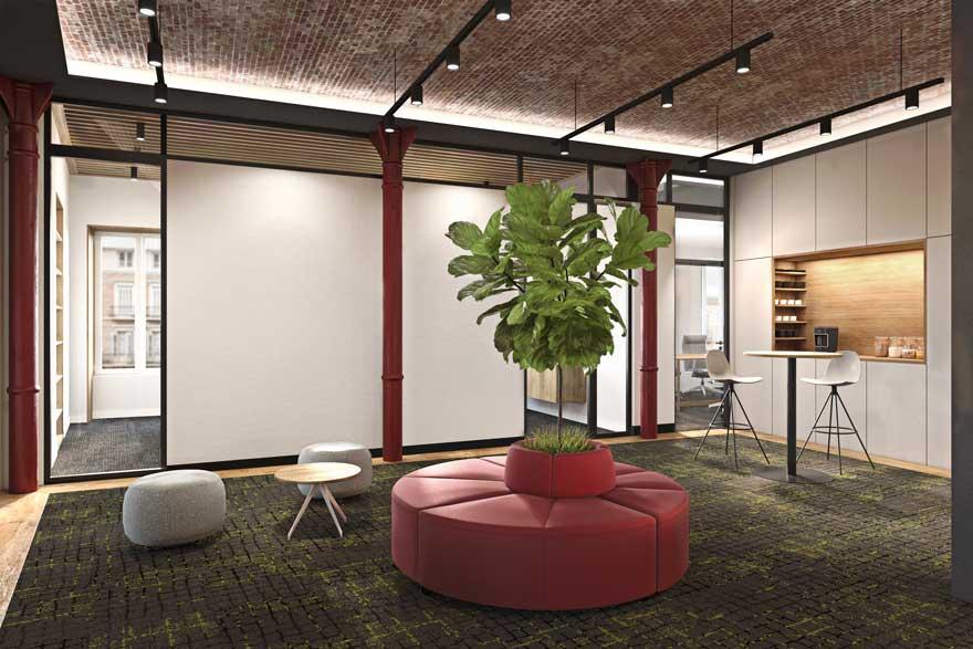 Render del diseño interior de despacho de abogados
