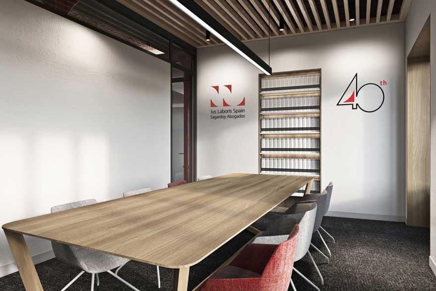 Infografia sala de reuniones de oficina