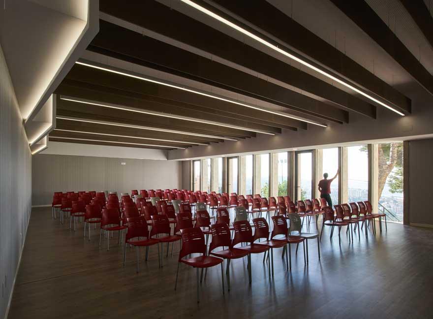lighted school multipurpose room